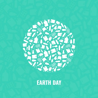 Concept de jour de la terre déchets plastique planète pollution illustration vectorielle globe terrestre rempli de