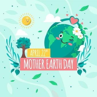 Concept de jour de la terre mère design plat