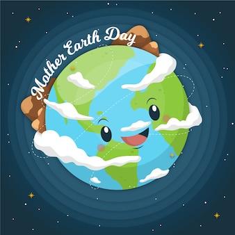 Concept de jour de la terre mère dessiné à la main