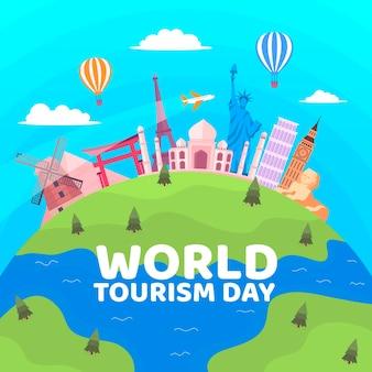 Concept de jour de tourisme design plat