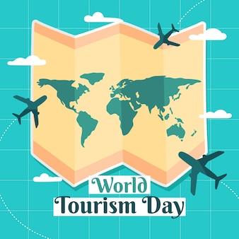 Concept de jour de tourisme dessiné à la main