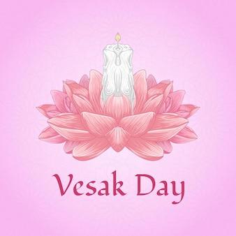 Concept de jour de vesak heureux avec illustration de dessin à main fleur