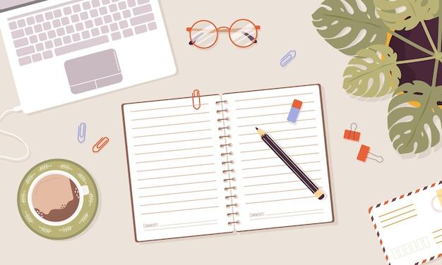 Concept de journal ouvert, planificateur ou cahier