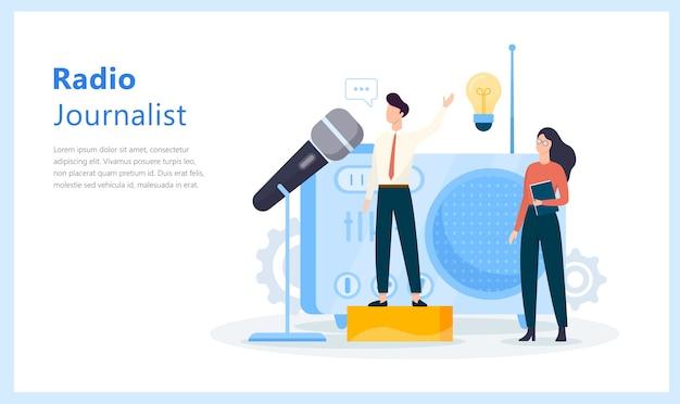 Concept de journaliste radio. idée d'actualité diffusée en studio