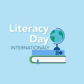 Concept de la journée de l'alphabétisation livres et inscription graphiques vectoriels