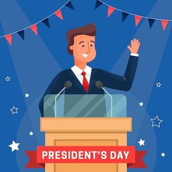 Concept de la journée du président au design plat