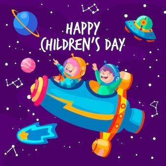 Concept de la journée des enfants au design plat