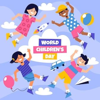 Concept de la journée des enfants du monde design plat
