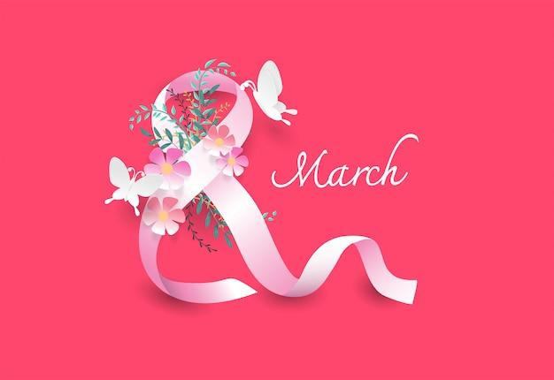 Le concept de la journée de la femme laisse des fleurs et un ruban blanc ressemble au numéro 8