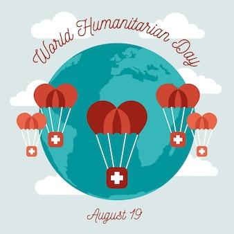 Concept de journée humanitaire mondiale dessiné à la main