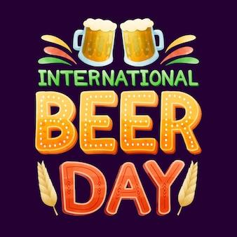 Concept de journée internationale de la bière aquarelle