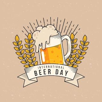 Concept de journée internationale de la bière dessiné à la main