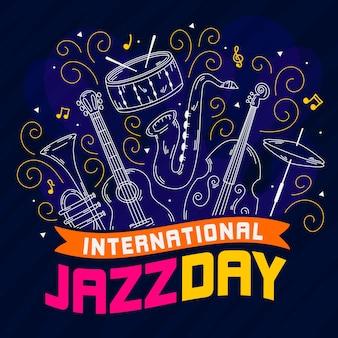 Concept de journée internationale du jazz dessiné à la main