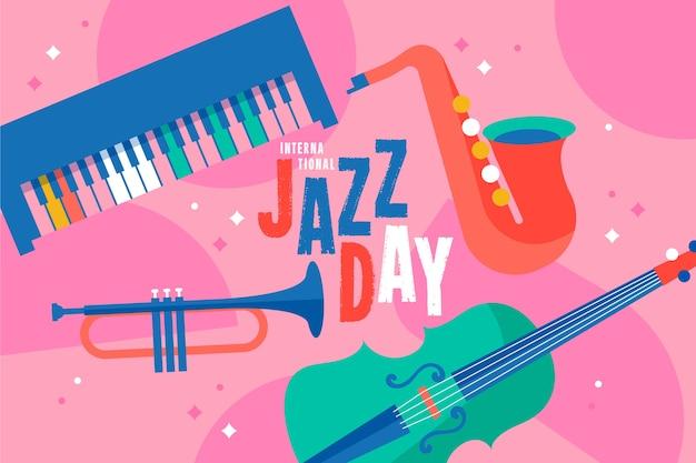 Concept de journée internationale du jazz plat