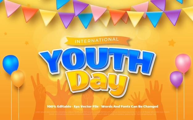 Concept de la journée internationale de la jeunesse typographie modifiable de la journée de la jeunesse
