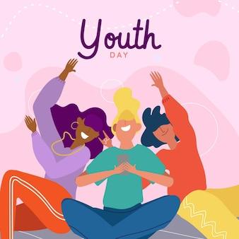 Concept de journée de la jeunesse dessiné à la main