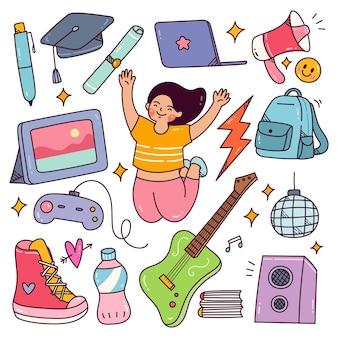 Le concept de la journée de la jeunesse griffonne un adolescent heureux avec ses passe-temps et son équipement