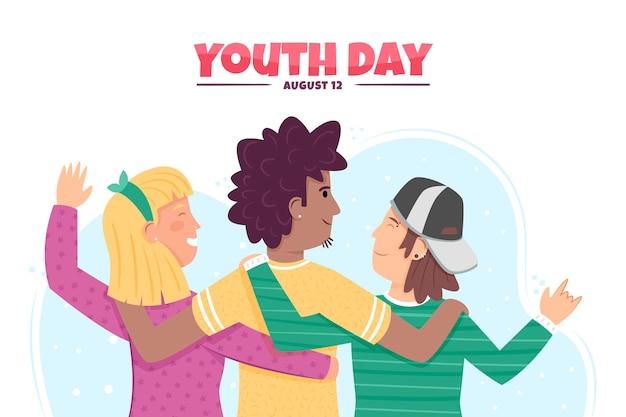 Concept de journée de la jeunesse de style dessiné à la main