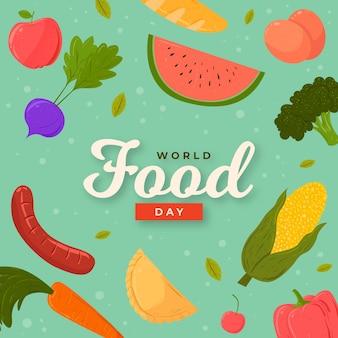 Concept de la journée mondiale de l'alimentation dessinée à la main