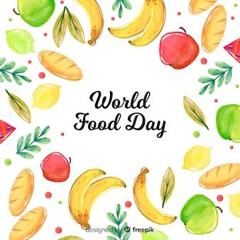 Concept de la journée mondiale de l'alimentation avec fond aquarelle