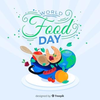 Concept de la journée mondiale de l'alimentation avec fond design plat