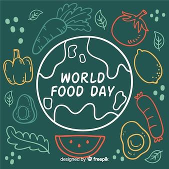 Concept de la journée mondiale de l'alimentation avec fond dessiné à la main