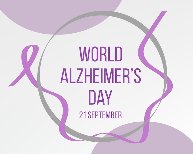 Concept de la journée mondiale d'alzheimer. modèle de bannière avec ruban violet et texte. illustration vectorielle.