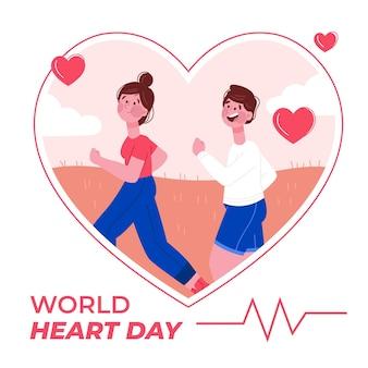 Concept de journée mondiale du cœur dessiné à la main