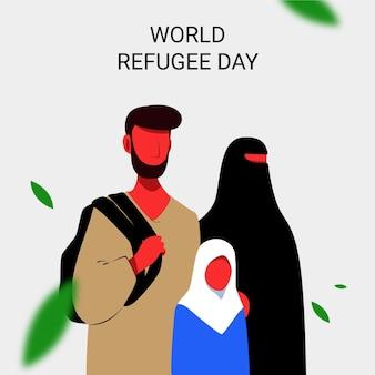 Concept de la journée mondiale du réfugié design plat