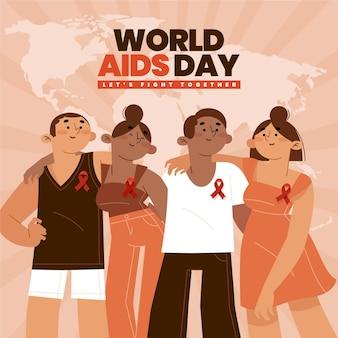 Concept de la journée mondiale du sida design plat