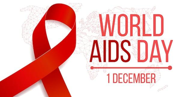 Concept de la journée mondiale du sida. modèle de bannière avec sensibilisation au ruban rouge. illustration vectorielle.