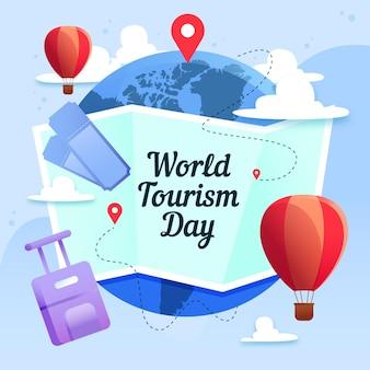 Concept de la journée mondiale du tourisme design plat
