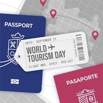 Concept de journée mondiale du tourisme plat