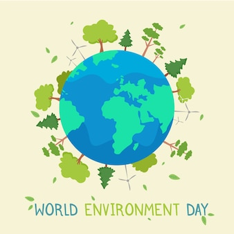 Concept de journée mondiale de l'environnement design plat