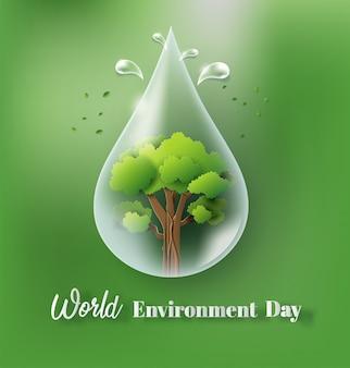 Concept de la journée mondiale de l'environnement avec une goutte d'eau et des arbres.
