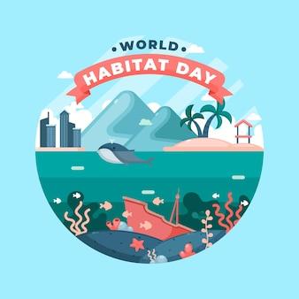 Concept de la journée mondiale de l'habitat design plat