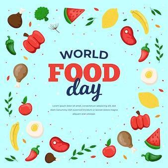 Concept de la journée mondiale de la nourriture dessinée à la main