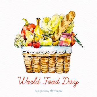 Concept de la journée mondiale de la nourriture avec fond aquarelle