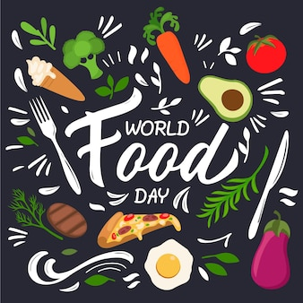 Concept de la journée mondiale de la nourriture plate