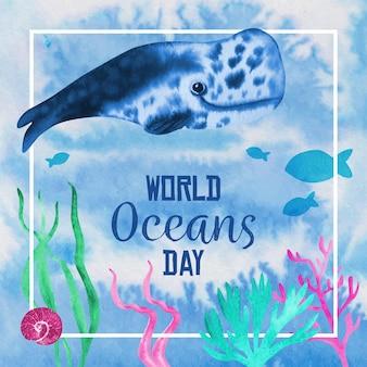 Concept de la journée mondiale des océans aquarelle