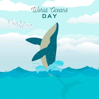 Concept de journée mondiale des océans design plat