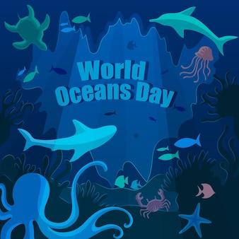 Concept de la journée mondiale des océans dessiné à la main