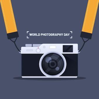 Concept de journée mondiale de la photographie design plat