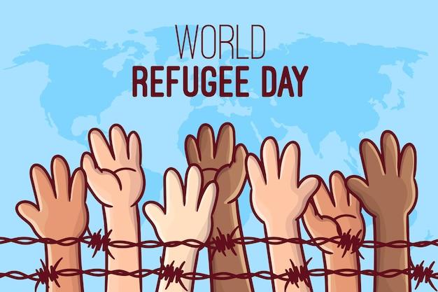 Concept de journée mondiale des réfugiés dessiné à la main