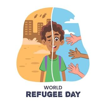 Concept De La Journée Mondiale Des Réfugiés Vecteur gratuit