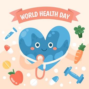 Concept de la journée mondiale de la santé dessiné à la main