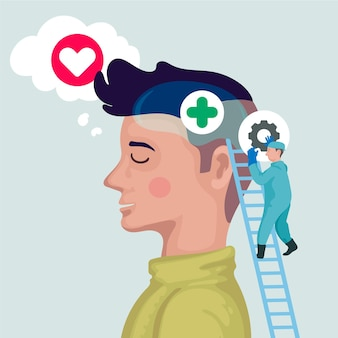Concept de la journée mondiale de la santé mentale design plat
