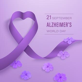 Concept de la journée mondiale de septembre de l'alzheimer avec ruban violet, fleurs phlox sur un violet clair