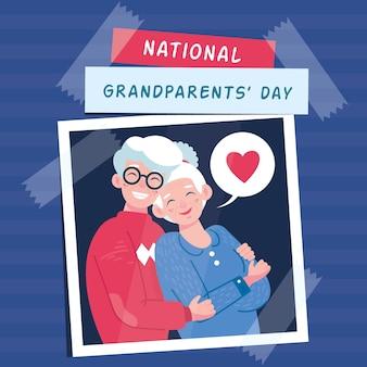 Concept de la journée nationale des grands-parents dessinés à la main aux états-unis