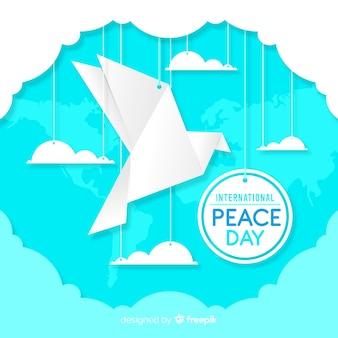 Concept de la journée de la paix avec la colombe origami